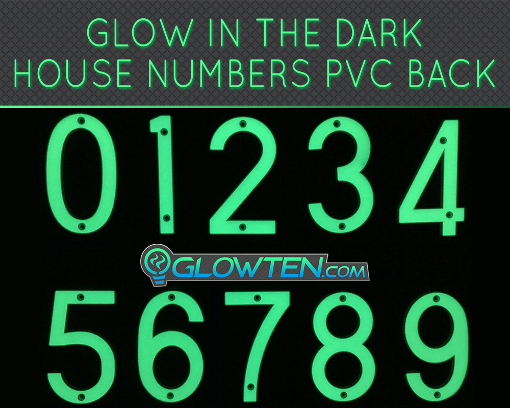 GLOWTEN.com - GLOW IN DARK HOUSE ADDRESS NUMBER DECOR ECO FRIENDLY PHOTOLUMINESCENT SIGN ABS MATERIAL PRICE FOR EACH SINGLE