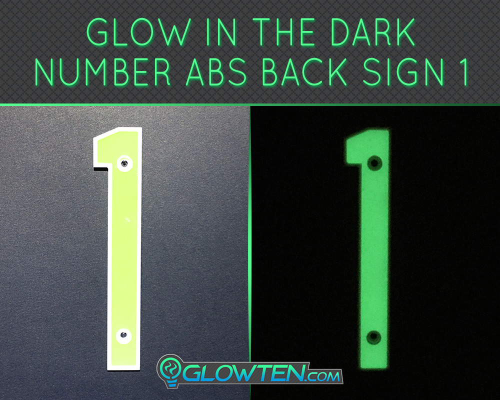 GLOWTEN.com - Glow in the dark Photo luminescent house Number One 1 day and night front view