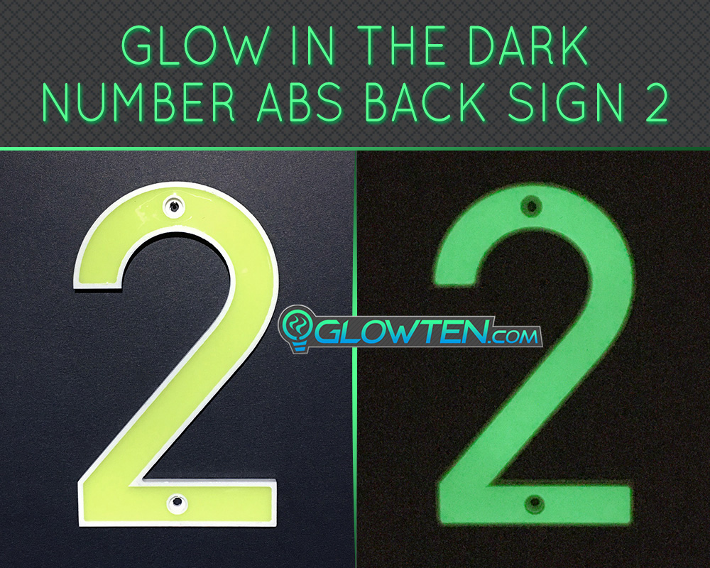 GLOWTEN.com - Glow in the dark street Outdoor house numbers Photo luminescent house Number Two 2 day and night front view