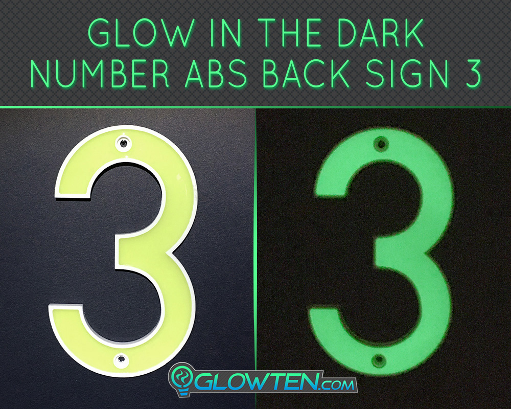 GLOWTEN.com - Glow in the dark street Photo luminescent house Number Three 3 day and night front view Housewarming gift