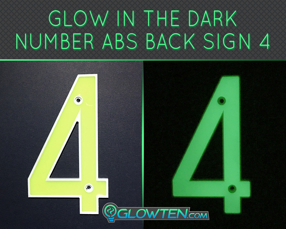 GLOWTEN.com - Glow in the dark street house sign number Photo luminescent house Number Four 4 day and night front view