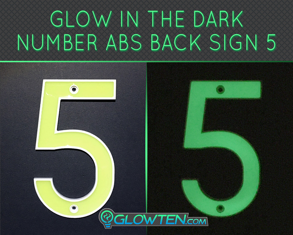 GLOWTEN.com - Glow in the dark house address signs Housewarming gift street Photo luminescent house Number Five 5 day and night front view