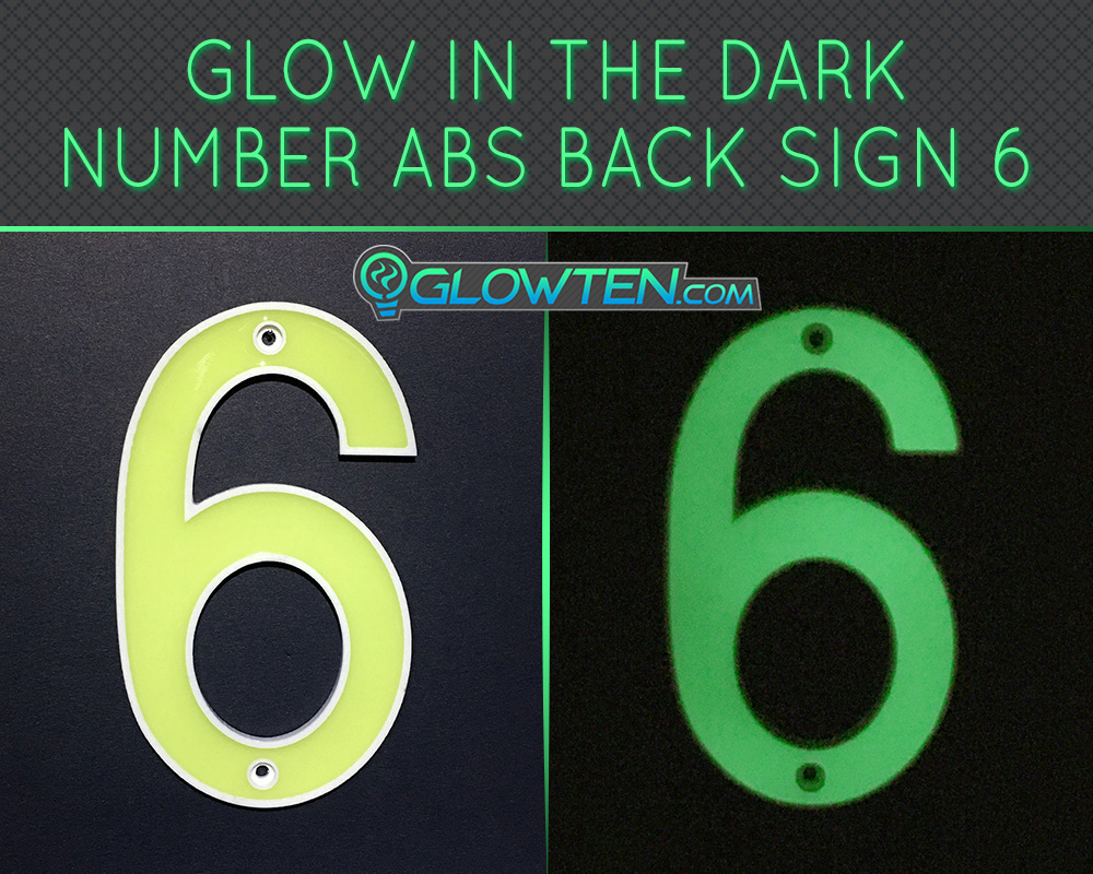 GLOWTEN.com - Glow in the dark house signs Photo luminescent house Number Six 6 day and night front view