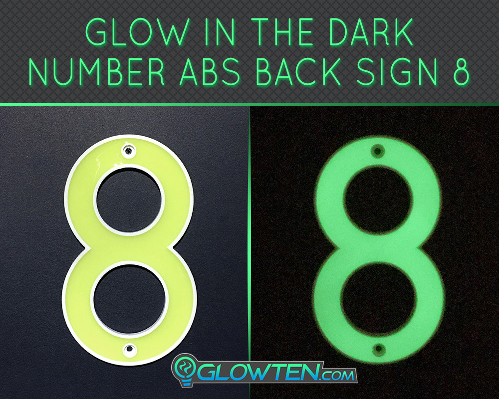 GLOWTEN.com - Glow in the dark house signs Outdoor house numbers Photo luminescent house Number Eight 8 day and night front view