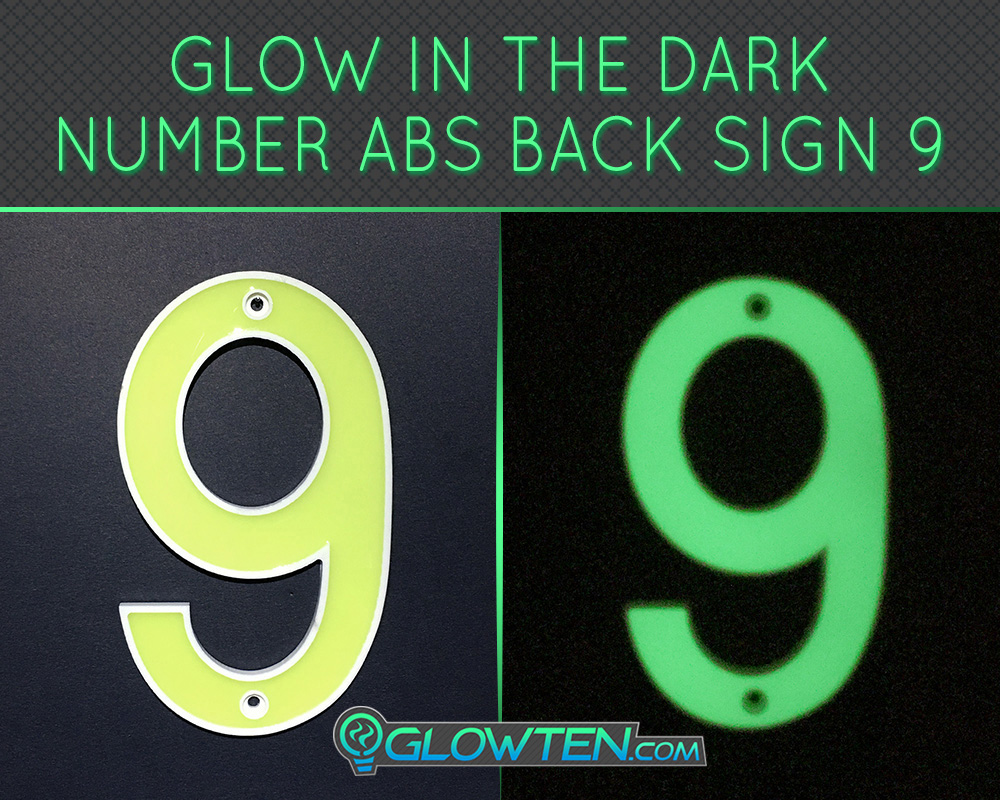 GLOWTEN.com - Glow in the dark house signs Housewarming gift Photo luminescent house Number Nine 9 day and night front view