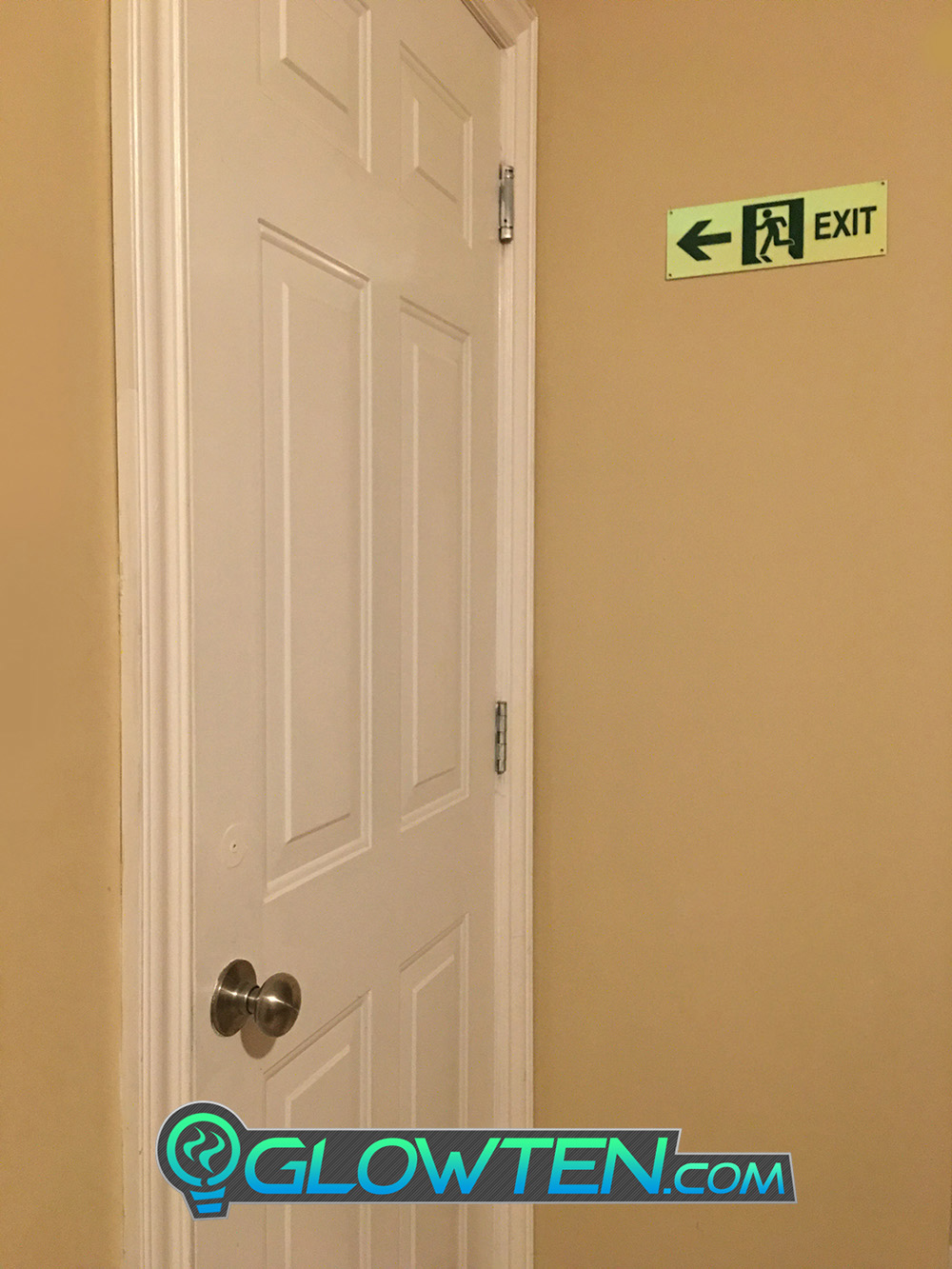 GLOWTEN.com - Glow in the Dark FIRE EXIT ESCAPE SIGN Left Eco Friendly Photoluminescent Material Green Absorbs photons from any light source and then this stored energy is released in the dark, resulting in the glowing effect  picture photo cap preview pic image search 5