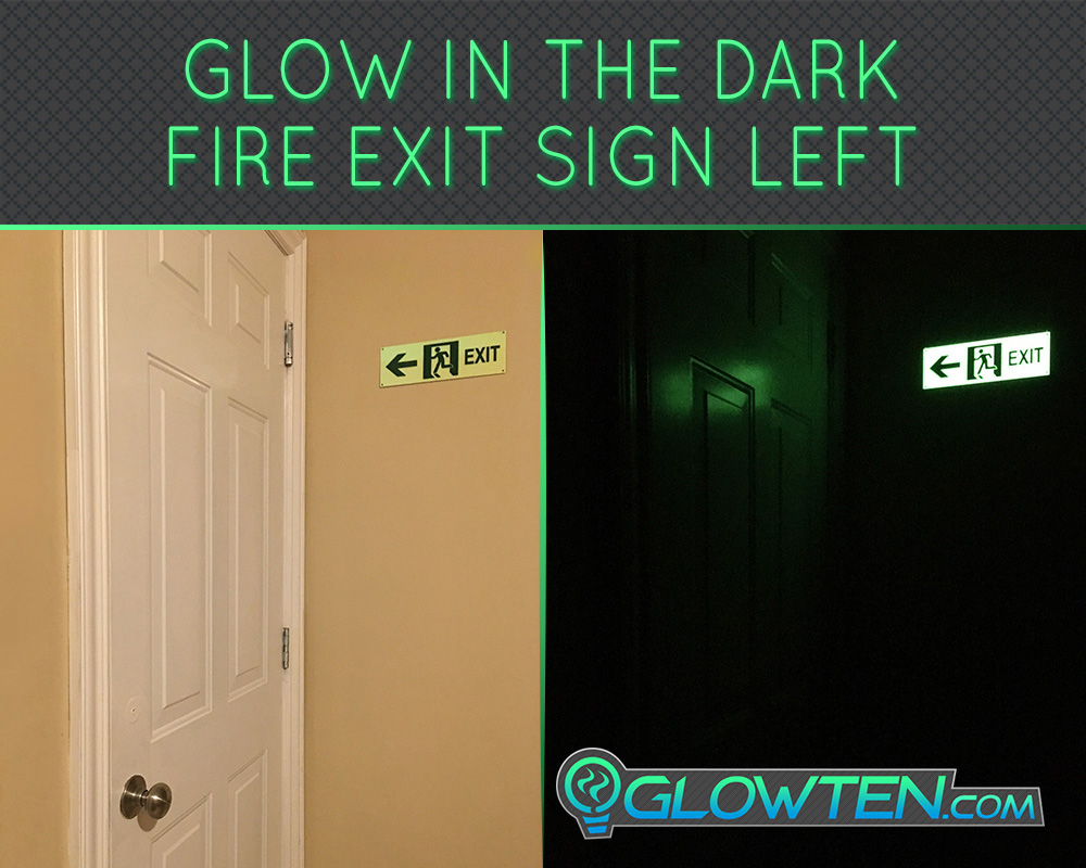 GLOWTEN.com - Glow in the Dark FIRE EXIT ESCAPE SIGN Left Eco Friendly Photoluminescent Material Green Helps You See Clearly Anytime At Night picture photo cap preview pic image search 4
