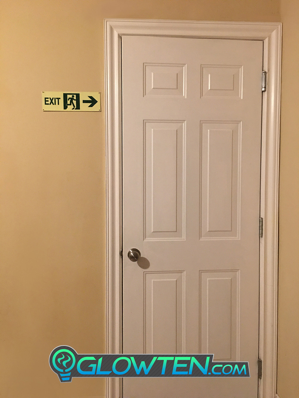 GLOWTEN.com - Glow in the Dark FIRE EXIT ESCAPE SIGN Right Arrow Eco Friendly Photoluminescent Material Green escape route safety sign picture photo cap preview pic image search 5