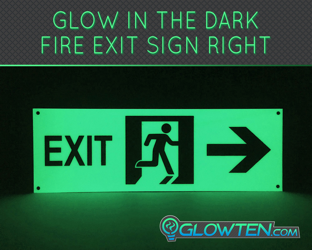 GLOWTEN.com - Glow in the Dark FIRE EXIT ESCAPE SIGN Right Arrow Eco Friendly Photoluminescent Material Green directional safety sign glow in the dark Ideal for offices, schools, shops, restaurants, hotels, warehouses, proceed right picture photo cap preview pic image search 2