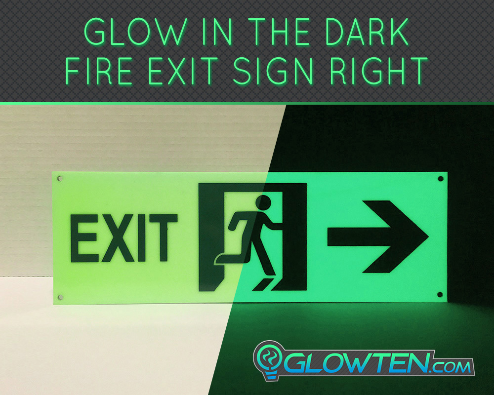 GLOWTEN.com - Glow in the Dark FIRE EXIT ESCAPE SIGN Right Arrow Eco Friendly Photoluminescent Material Green emergency exit pointer picture photo cap preview pic image search 3
