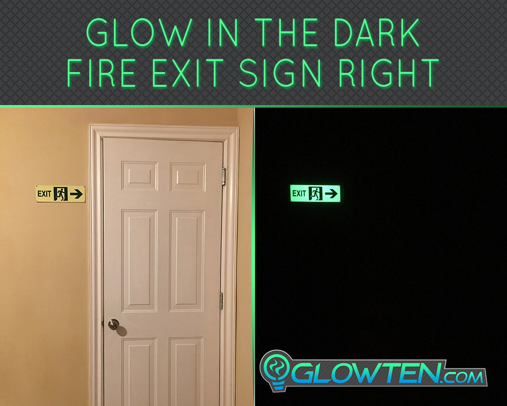 GLOWTEN.com - Glow in the Dark FIRE EXIT ESCAPE SIGN Right Arrow Eco Friendly Photoluminescent Material Green plastic back green arrow fire exit picture photo cap preview pic image search 4