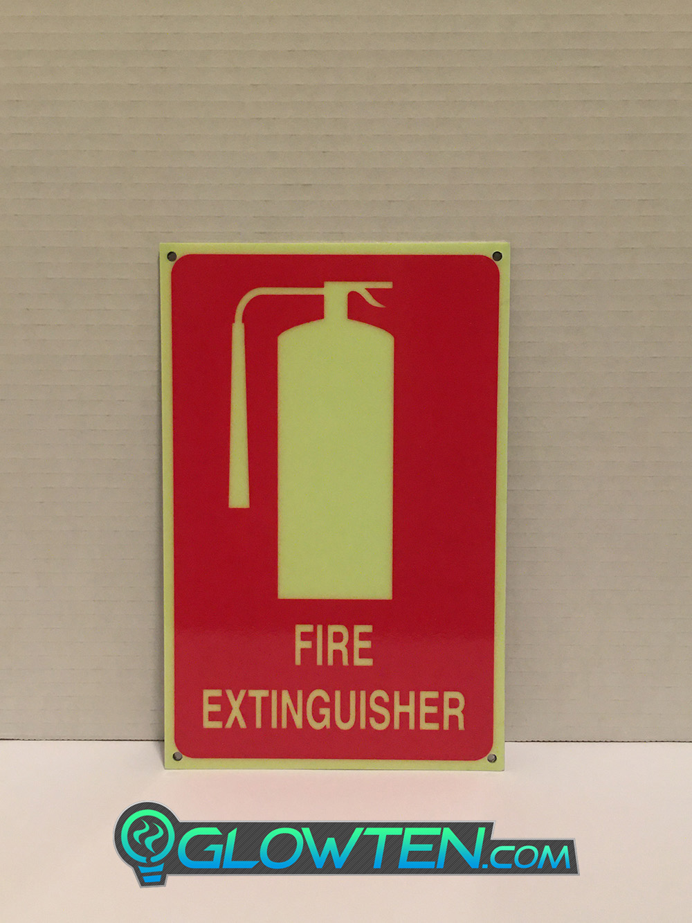 GLOWTEN.com - FIRE EXTINGUISHER SIGN Vertical Stand Alone Luminous Fluorescent Glow in the Dark Eco Friendly Photoluminescent Material Green Do all fire doors need signage picture photo cap preview pic 6