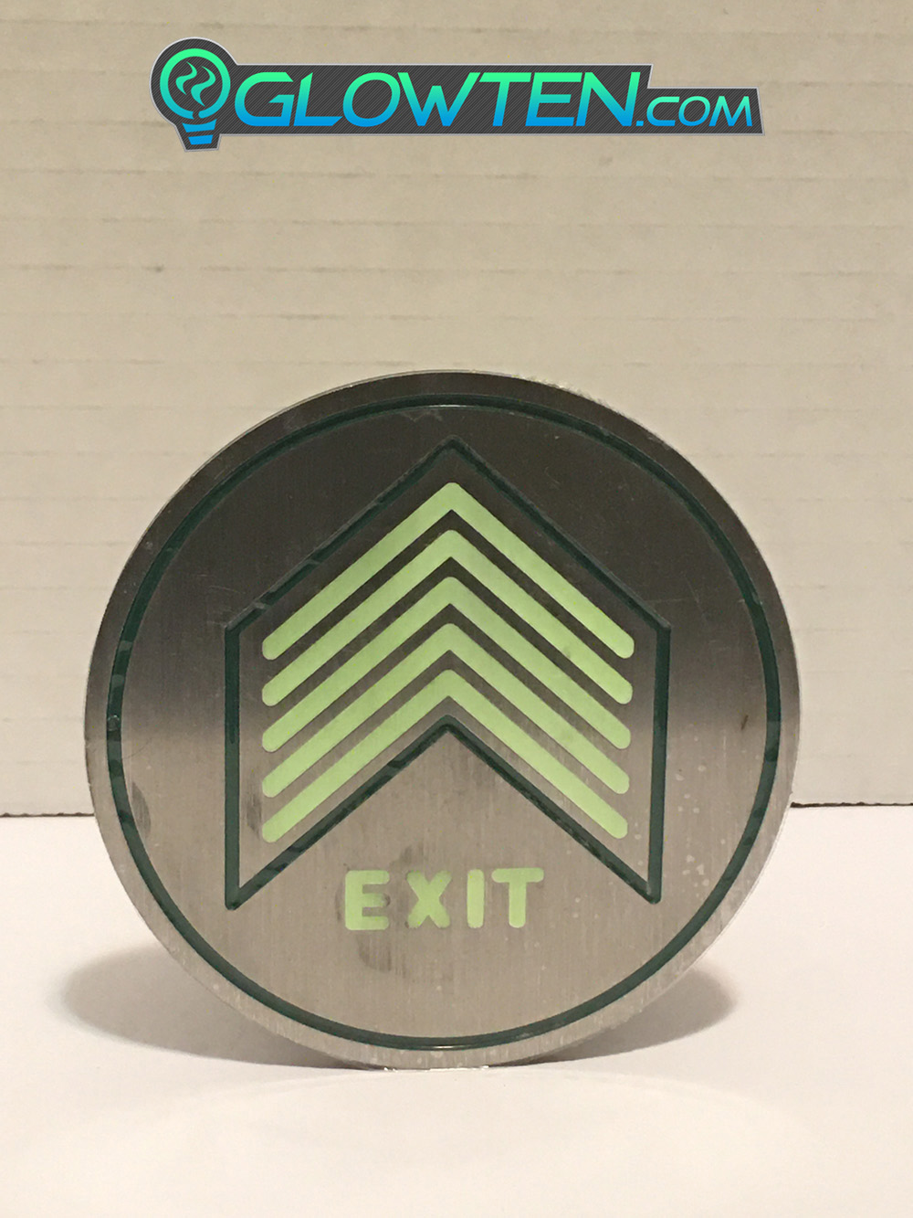 GLOWTEN.com - Glow In The Dark Five Small Arrows Ground Directional Exit Safety Sign Stainless Steel Plate Round Circle Army Badge Signs Light Up Right Away In Dark Or Smokey Rooms With Non Sufficient Lighting To See Easily picture photo cap preview pic 6
