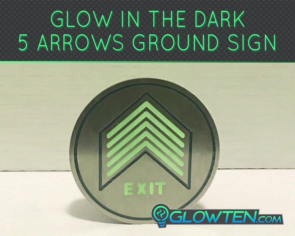 GLOWTEN.com - Glow In The Dark Five Small Arrows Ground Directional Exit Safety Sign Stainless Steel Plate Round Circle Army Badge Fire Equipment And Evacuation Glow In The Dark Safety Sign picture photo cap preview pic image search 1