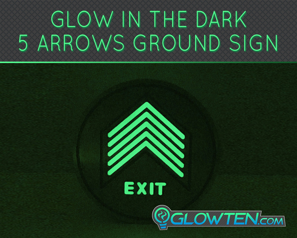 GLOWTEN.com - Glow In The Dark Five Small Arrows Ground Directional Exit Safety Sign Stainless Steel Plate Round Circle Army Badge Arrowheads Metal Backing, Only Suitable For Newly Built Ground And For Indoor Use picture photo cap preview pic image search 2