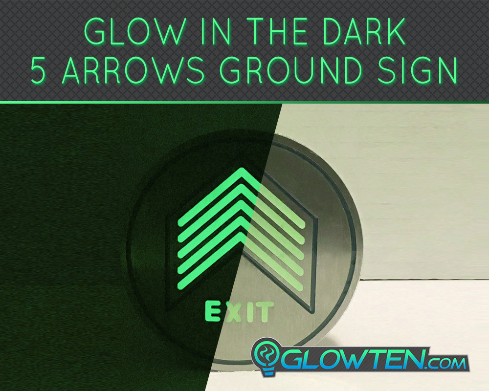 GLOWTEN.com - Glow In The Dark Five Small Arrows Ground Directional Exit Safety Sign Stainless Steel Plate Round Circle Army Badge Stainless Steel Photoluminescent Pigment, Applications Subways, Airports, Shopping Malls, Office Buildings, Factories picture photo cap preview pic image search 3