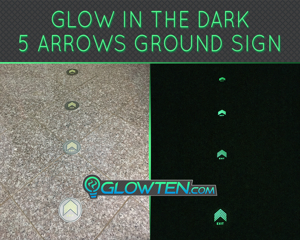 GLOWTEN.com - Glow In The Dark Five Small Arrows Ground Directional Exit Safety Sign Stainless Steel Plate Round Circle Army Badge Absorbs Photons From Any Light Source And Then This Stored Energy Is Released In The Dark picture photo cap preview pic image search 4