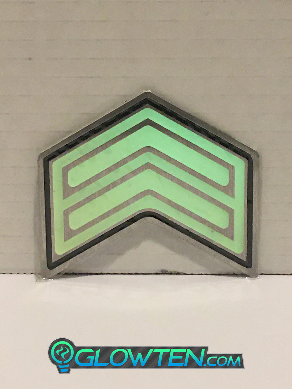 GLOWTEN.com - DOUBLE ARROWS Glow in the Dark Stairs Guide Directional Safety See Clearly At Night Metal Badge Sign glow pigments picture photo cap preview pic 1