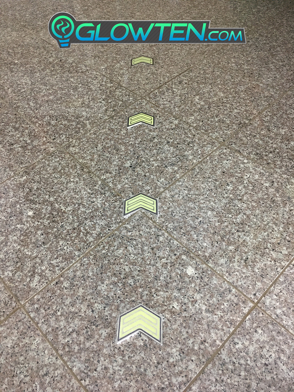 GLOWTEN.com - DOUBLE ARROWS Glow in the Dark Stairs Guide Directional Safety See Clearly At Night Metal Badge Sign Anti-slip surface picture photo cap preview pic 3