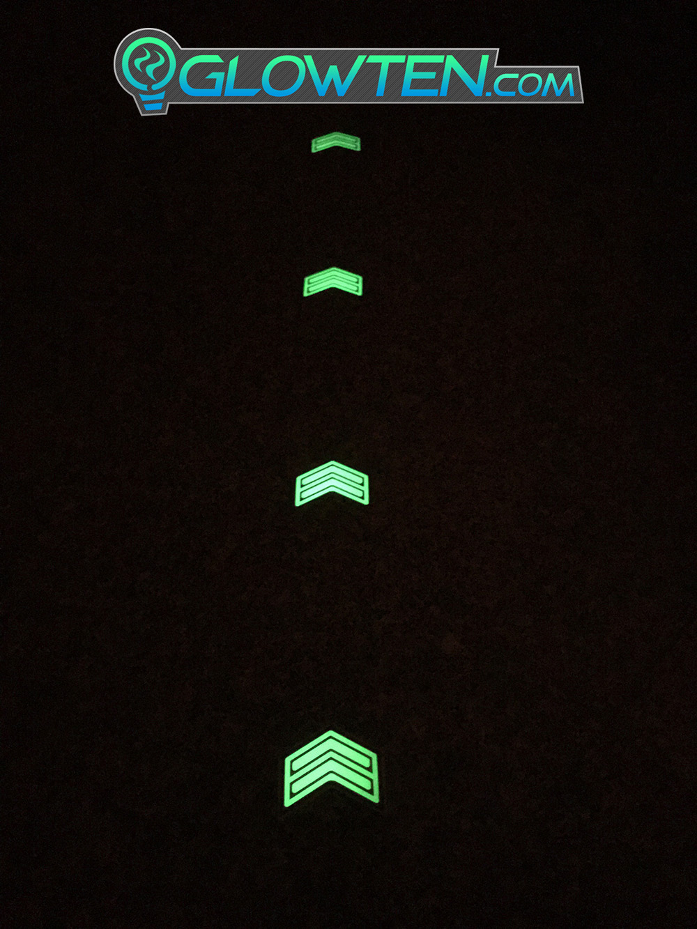 GLOWTEN.com - DOUBLE ARROWS Glow in the Dark Stairs Guide Directional Safety See Clearly At Night Metal Badge Sign prevent power outage picture photo cap preview pic 4