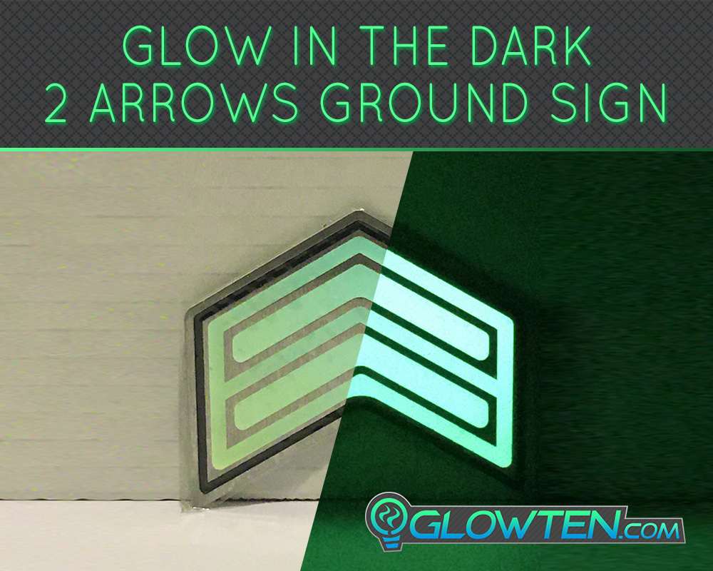 GLOWTEN.com - DOUBLE ARROWS Glow in the Dark Stairs Guide Directional Safety See Clearly At Night Metal Badge Sign low-light glow emitting picture photo cap preview pic 5