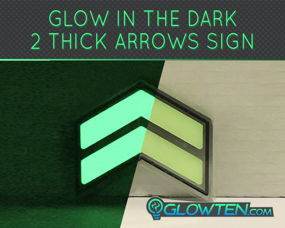 GLOWTEN.com - Merchandise Shopping Decals Logos Glow in the Dark Stairs Direction Guide Sign TWO ARROWS Pointer Photoluminescent Stainless Steel Green Glow picture photo cap preview pic 7