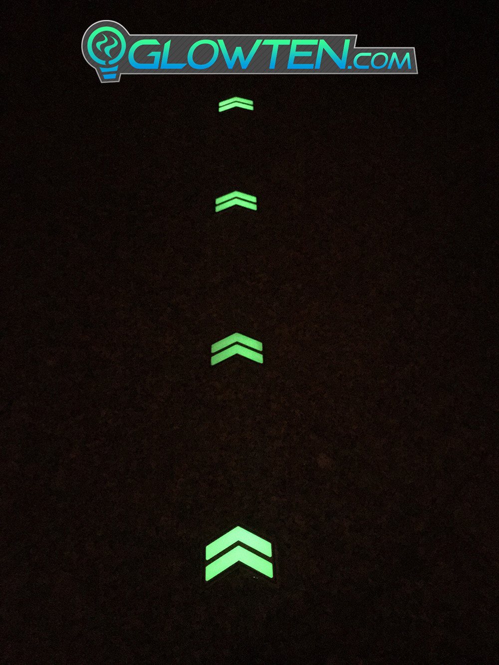 GLOWTEN.com - Cool Stainless Steel Photoluminescent Pigment Glowing Effect, Help First Responders Glow in the Dark Stairs Direction Guide Sign TWO ARROWS Pointer Photoluminescent Stainless Steel Green Glow picture photo cap preview pic image search 3