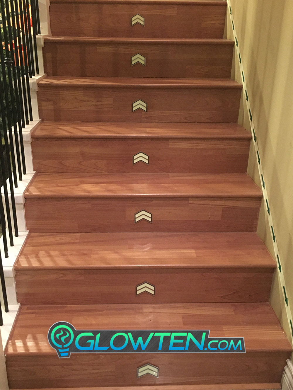 GLOWTEN.com - Get Yours Now Glow in the Dark Stairs Direction Guide Sign TWO ARROWS Pointer Photoluminescent Stainless Steel Green Glow picture photo cap preview pic 6