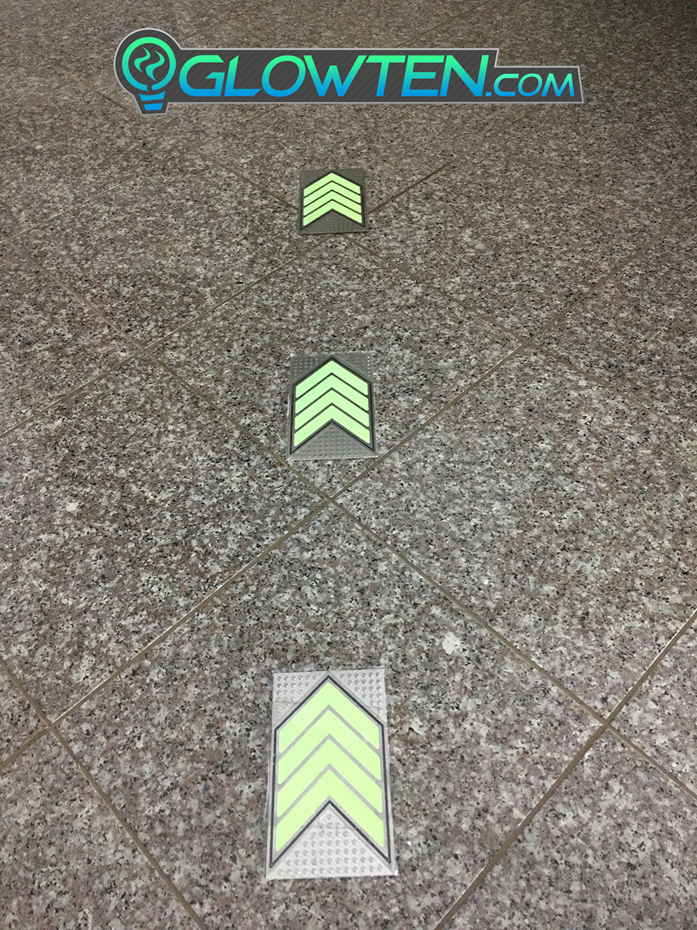 GLOWTEN.com - FOUR QUAD ARROWS Ground Direction Safety Sign Glow in the Dark Stainless Steel Plate With Anti-Slip Function Directional Guide Expose Dimly Lit Areas picture photo cap preview pic 4