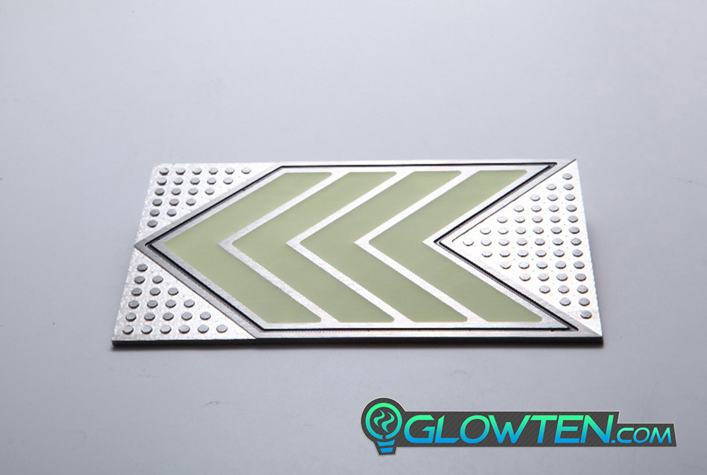 GLOWTEN.com - FOUR QUAD ARROWS Ground Direction Safety Sign Glow in the Dark Stainless Steel Plate With Anti-Slip Function Directional Guide heavy clear textured surface picture photo cap preview pic 7