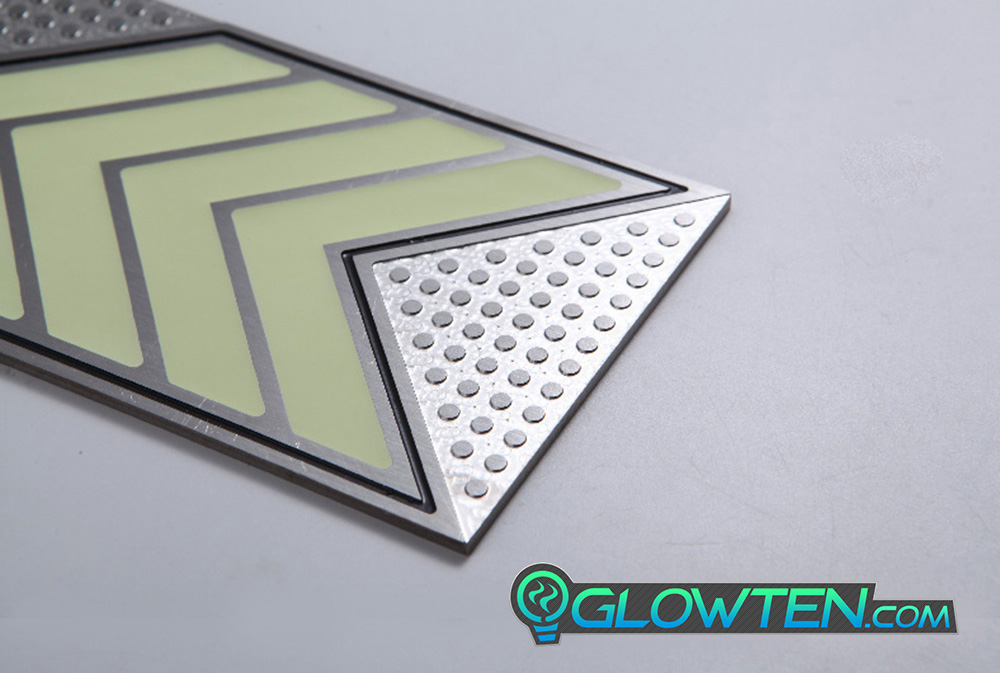 GLOWTEN.com - FOUR QUAD ARROWS Ground Direction Safety Sign Glow in the Dark Stainless Steel Plate With Anti-Slip Function Directional Guide do not require a mechanical or electrical power source picture photo cap preview pic 9