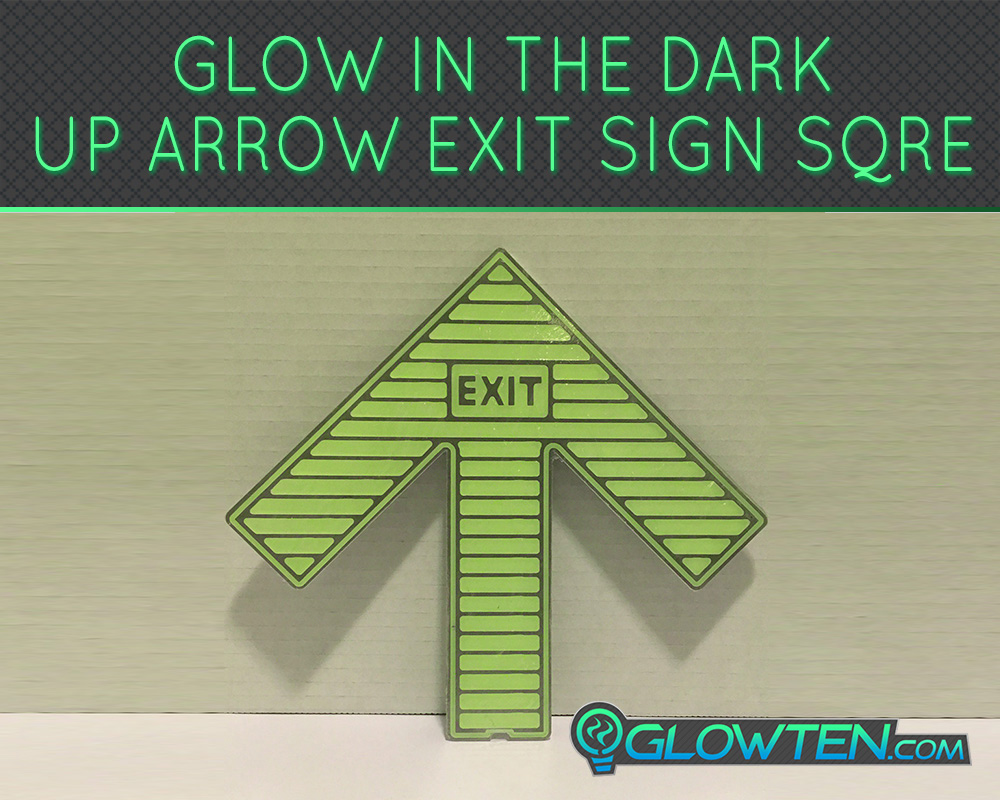 GLOWTEN.com - Waterproof All Weather No Power Required Environmental Friendly High Tech Eco Friendly Photoluminescent Material Large Arrow Glow In The Dark Ground Direction With Exit Text Sign Square Block Stainless Steel Metal picture photo cap preview pic image search 1