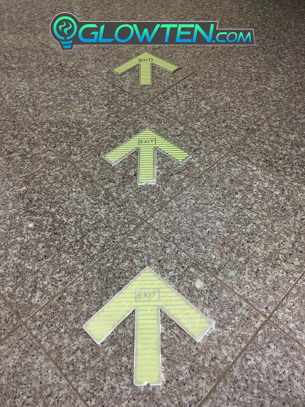GLOWTEN.com - Luminous Decal Decor Large Arrow Glow In The Dark Ground Direction With Exit Text Sign Square Block Stainless Steel Metal picture photo cap preview pic image search 2