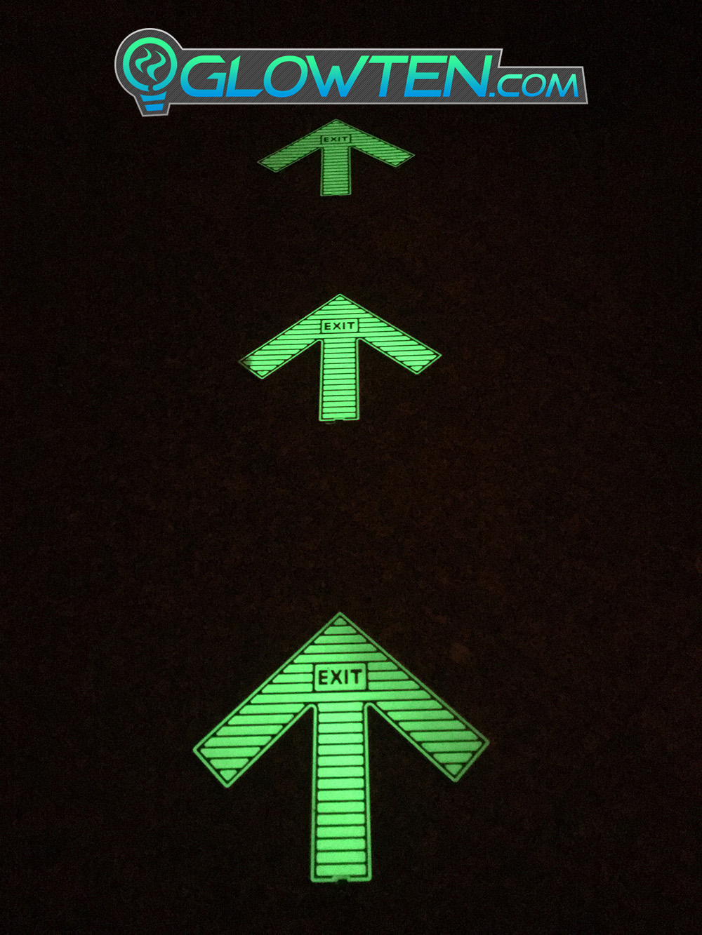 GLOWTEN.com - Directional Pointer Pathway Guide Signs Large Arrow Glow In The Dark Ground Direction With Exit Text Sign Square Block Stainless Steel Metal picture photo cap preview pic image search 3