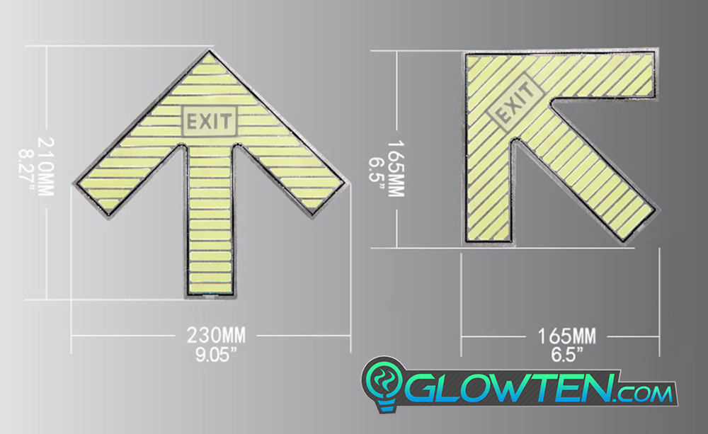 GLOWTEN.com - Shop Merchandise, Swag And Products  Eco Phosphorescent Material Emitting Stainless Steel Backing Large Arrow Glow In The Dark Ground Direction With Exit Text Sign Square Block Stainless Steel Metal picture photo cap preview pic image search 4