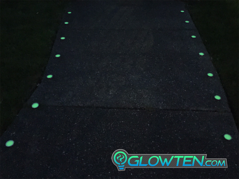 GLOWTEN.com - ROUND CIRCLE Glow in the Dark Safety Sign With Stainless Steel Toughened Glass Rim Dot Ground Guide Chip Marker Plaque picture photo cap preview pic 8