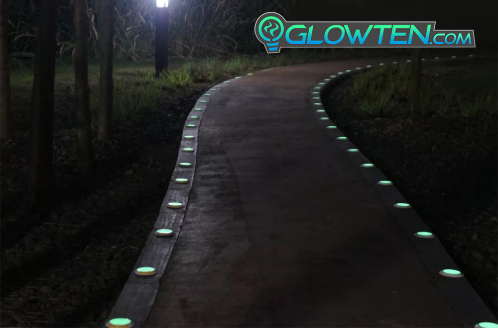 GLOWTEN.com - ROUND CIRCLE Glow in the Dark Safety Sign With Stainless Steel Toughened Glass Rim Dot Ground Guide Chip Marker Plaque picture photo cap preview pic 9