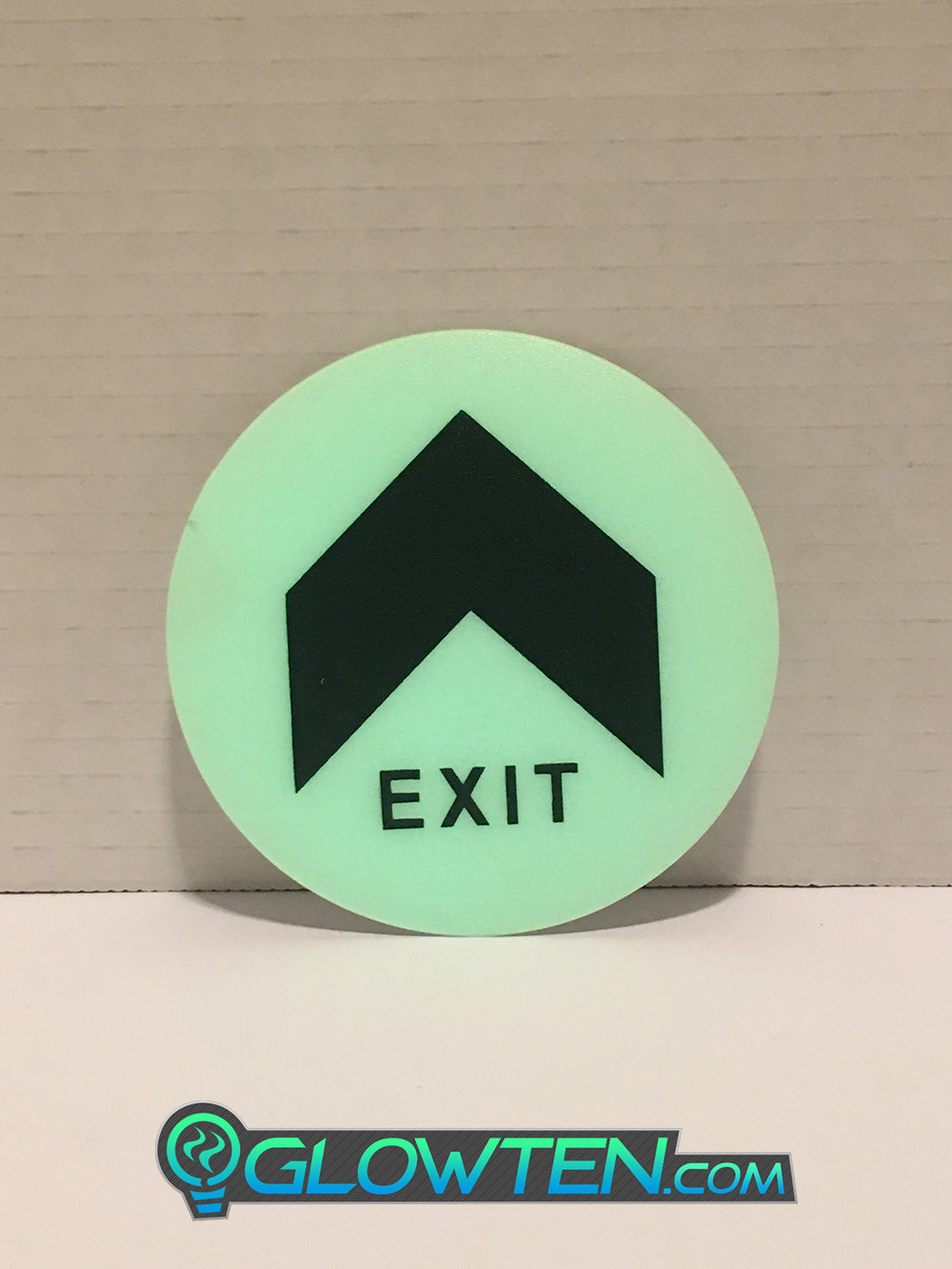 GLOWTEN.com - Glow In The Dark Sign Glows Green Brightly And Is Extremely Visible In Total Darkness Large Arrow Fire Exit Sign Emergency Glow In The Dark Eco Friendly Photoluminescent Pigment Pvc Plastic With Adhesive picture photo cap preview pic image search 1