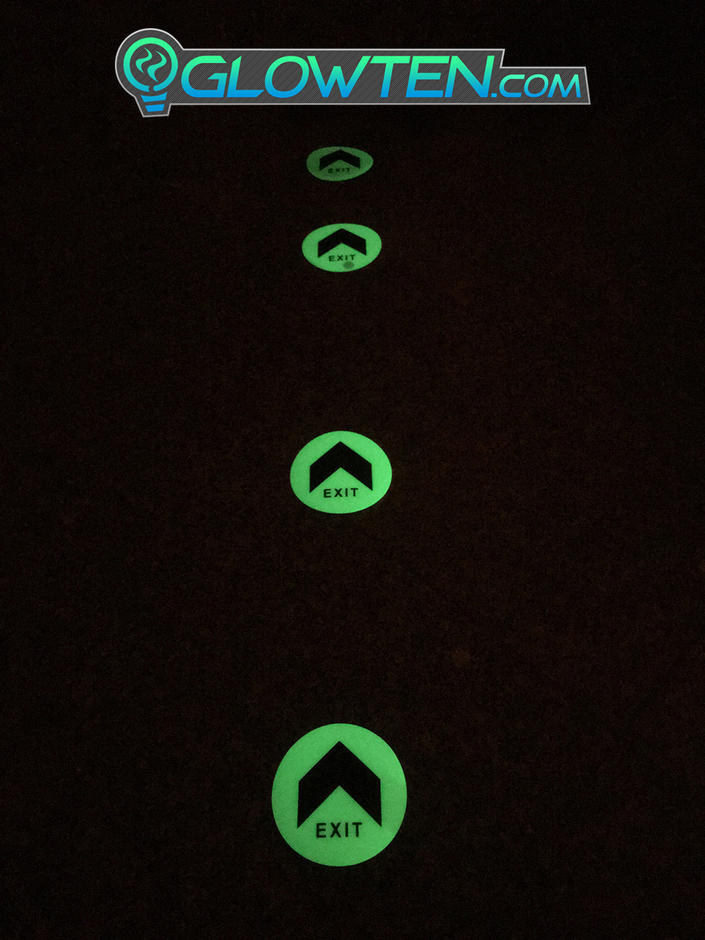 GLOWTEN.com - Floor Decal Marker Sign Glow In The Dark Flourescent Green Large Arrow Fire Exit Sign Emergency Glow In The Dark Eco Friendly Photoluminescent Pigment Pvc Plastic With Adhesive picture photo cap preview pic image search 3