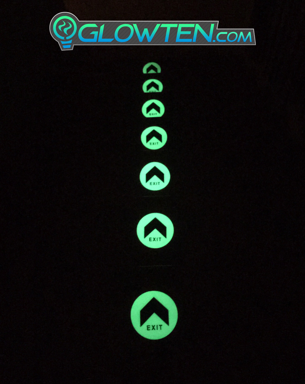 GLOWTEN.com - Photo Luminescent Vinyl Sticker For Walls And Floors Large Arrow Fire Exit Sign Emergency Glow In The Dark Eco Friendly Photoluminescent Pigment Pvc Plastic With Adhesive picture photo cap preview pic 8