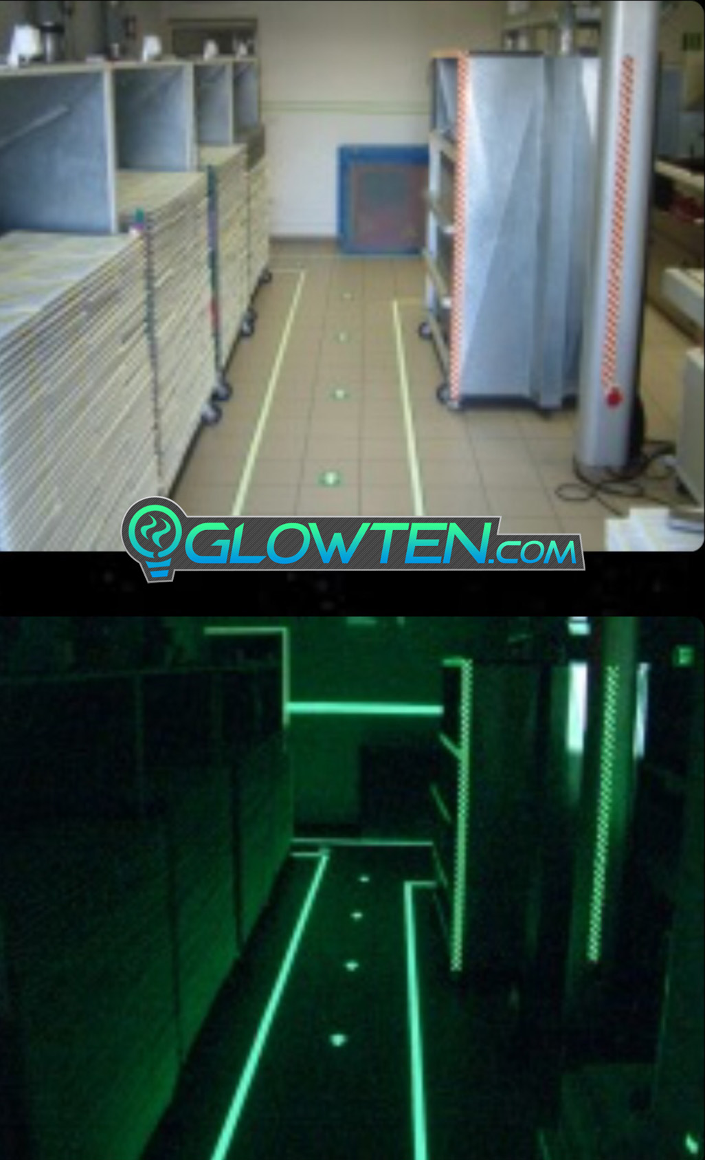 GLOWTEN.com - ARROW POINT TAPE Glow in the Dark Green Single Direction Sign All Purpose Tape Roll Lite Green pic 9
