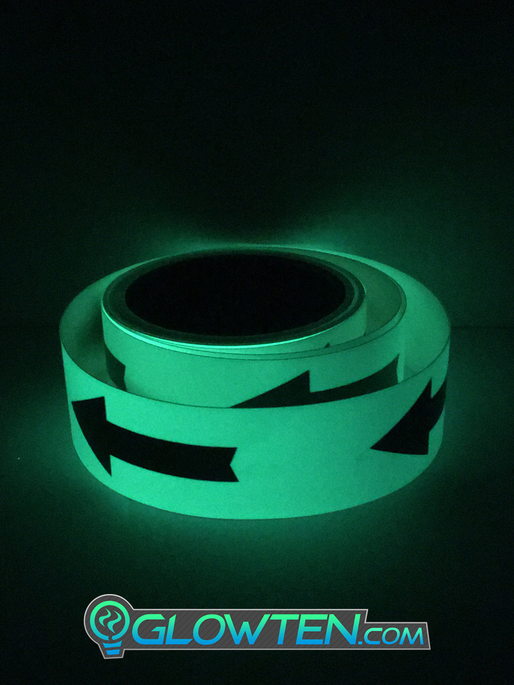 GLOWTEN.com - ARROW POINT TAPE Glow in the Dark Green Single Direction Sign All Purpose Tape Roll Lite Green Directional Marking Tape 2
