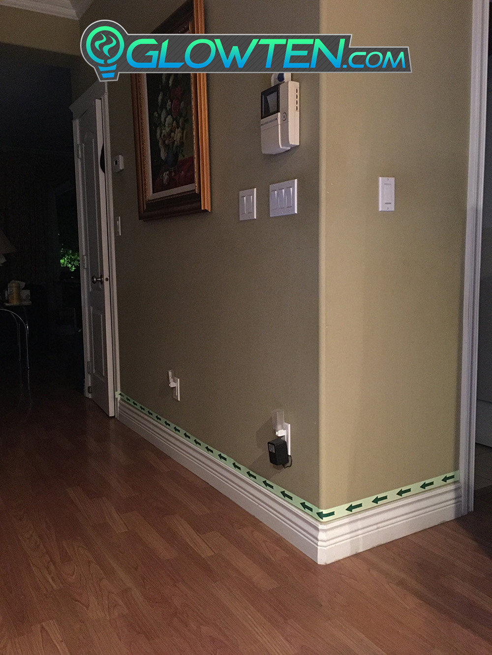 GLOWTEN.com - ARROW POINT TAPE Glow in the Dark Green Single Direction Sign All Purpose Tape Roll Lite Green indoors hallways stairs glow in the dark marker pic 4