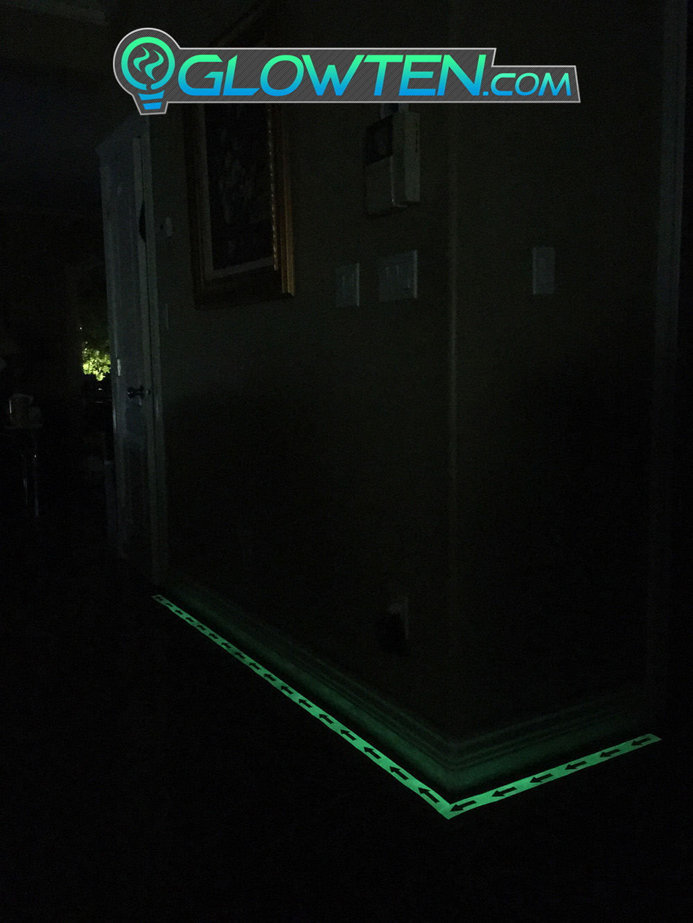 GLOWTEN.com - ARROW POINT TAPE Glow in the Dark Green Single Direction Sign All Purpose Tape Roll Lite Green Directional glow in the dark tape arrow pattern pic 5