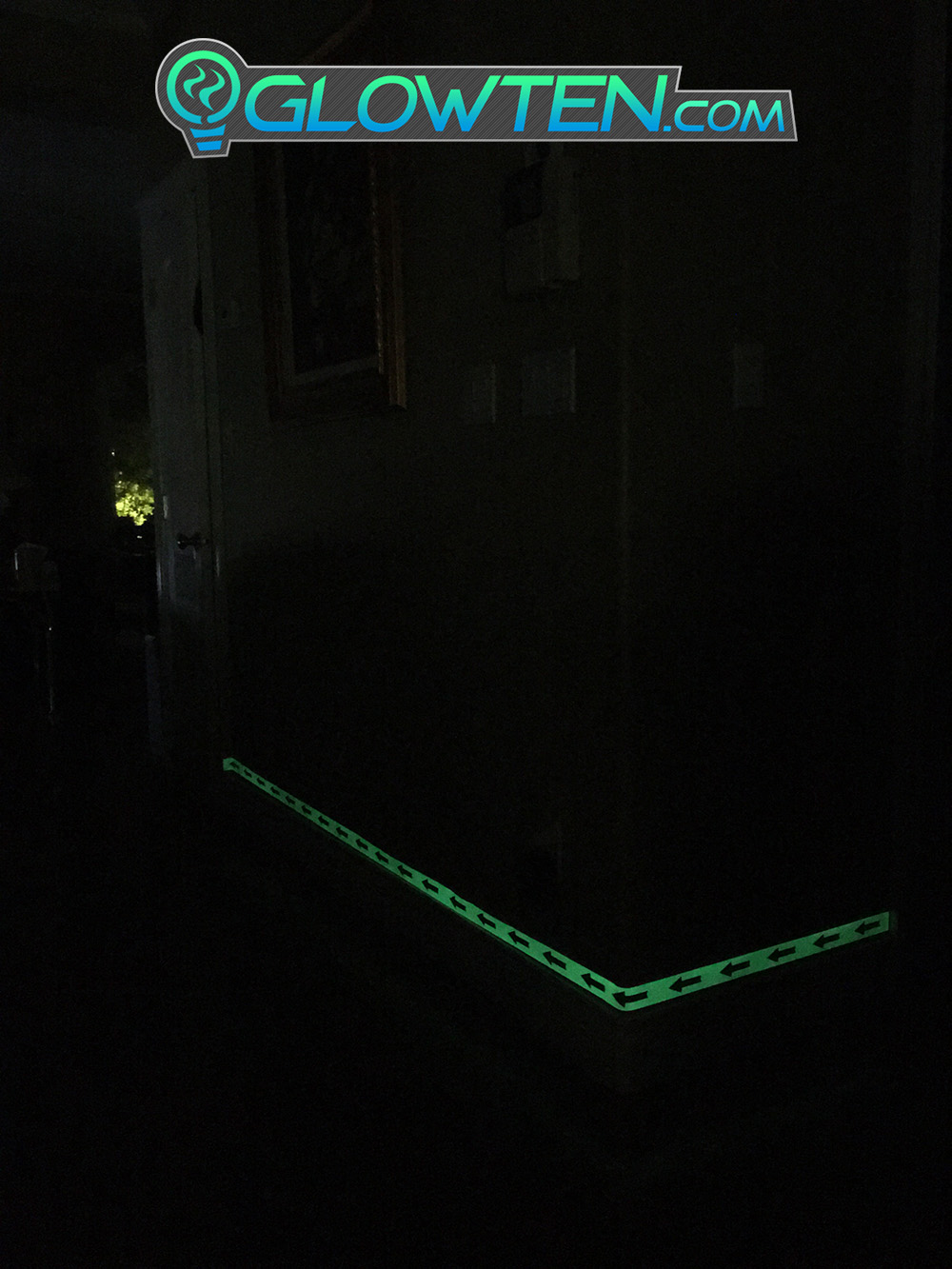 GLOWTEN.com - ARROW POINT TAPE Glow in the Dark Green Single Direction Sign All Purpose Tape Roll Lite Green Glow in the Dark Floor Signs Warning Tapes pic 6