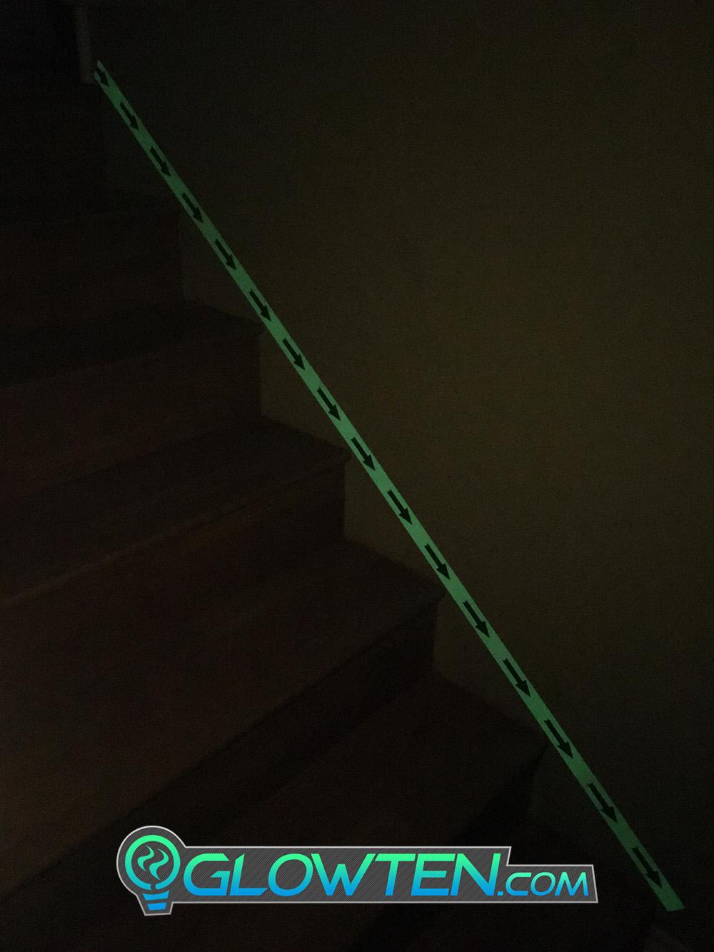 GLOWTEN.com - ARROW POINT TAPE Glow in the Dark Green Single Direction Sign All Purpose Tape Roll Lite Green glow in the dark arrow safety sign pic 8