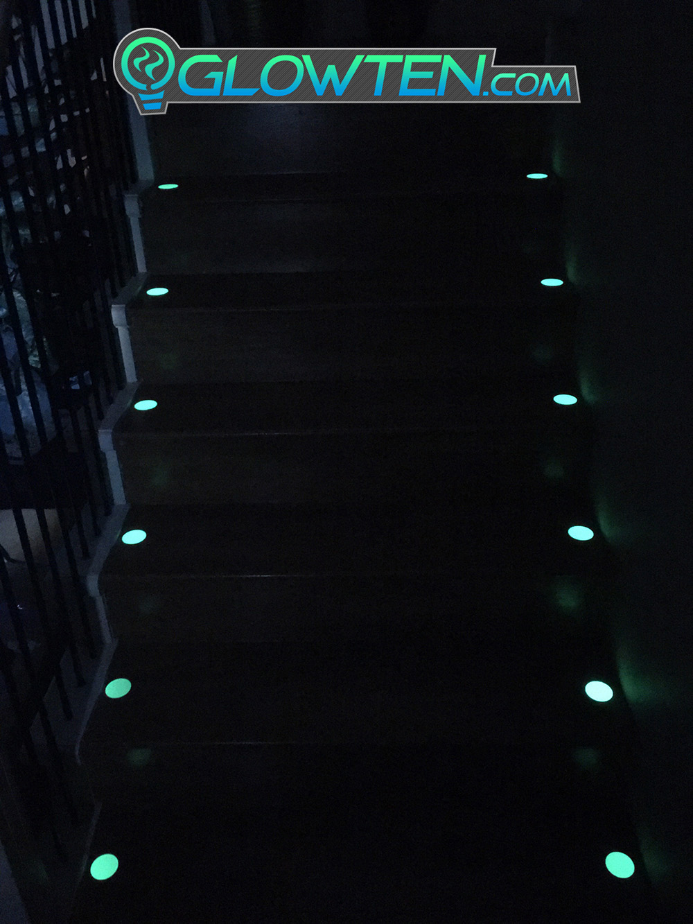 GLOWTEN.com - CIRCLE PLAQUE Glow in the Dark Stairs Guide Sign Round Eco Friendly Photoluminescent Material Aluminum Body Decor Seeing Assistance Impaired pic 5 picture photo cap preview pic 5
