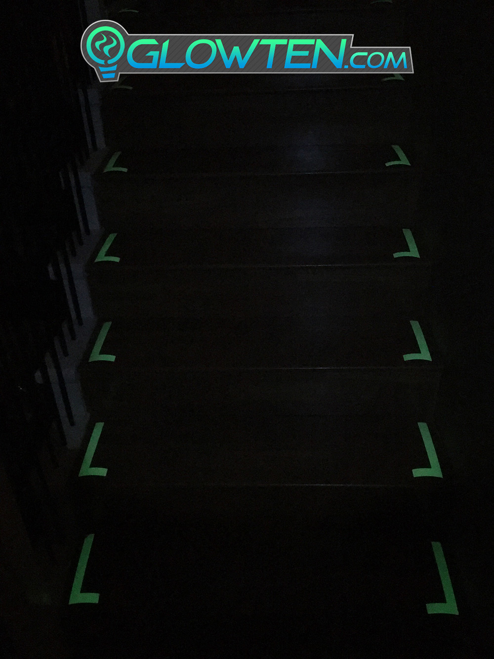 GLOWTEN.com - High Luminous Tape Stairs Guide Outline Glow In The Dark Stairs Guide Green Angle Left Right Sign Lite Green Tape Adhesive picture photo cap preview pic image search 4