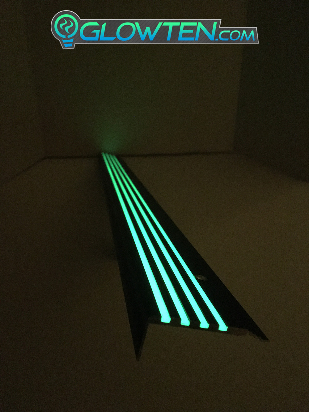 GLOWTEN.com - BLACK METAL ANTI-SLIP STAIRS TREAD 4-BANDS FOURBANDS NOSING GLOW IN THE DARK LUMINOUS SAFETY STRIP All Purpose Out Door All Weather Photoluminescent Stripe NON-SKID SEE BETTER AT NIGHT PREVENT FALLING GRIP STRENGTH FOR MINIMUM 31.5