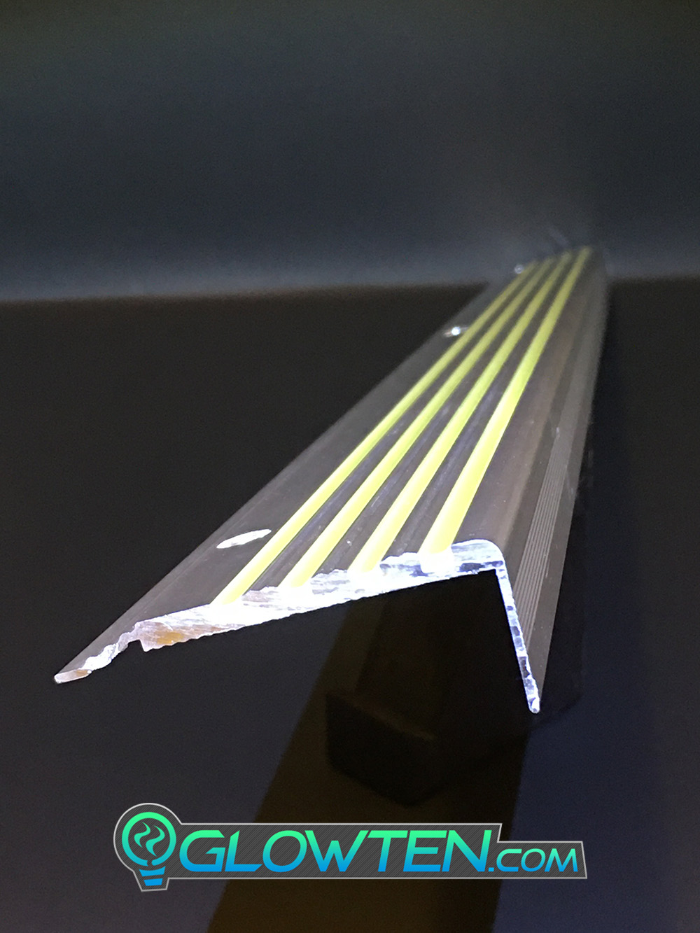 GLOWTEN.com - ANTI-SLIP STAIRS TREAD 4-BANDS FOURBANDS NOSING GLOW IN THE DARK LUMINOUS SAFETY STRIP All Purpose Out Door All Weather Photoluminescent Stripe NON-SKID SEE BETTER AT NIGHT PREVENT FALLING GRIP STRENGTH FOR MINIMUM 31.5